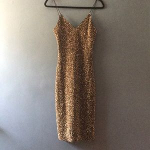 Formal gold sequined cocktail dress